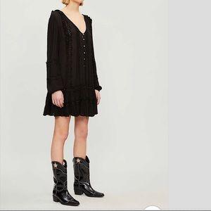 Free People Snow Angel Mini Dress Black NWT